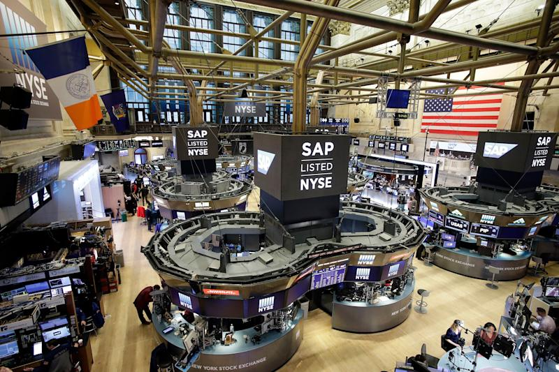 The New York Stock Exchange is shown, Thursday, Feb. 9, 2017, in New York. (AP Photo/Mark Lennihan) ORG XMIT: NYML108