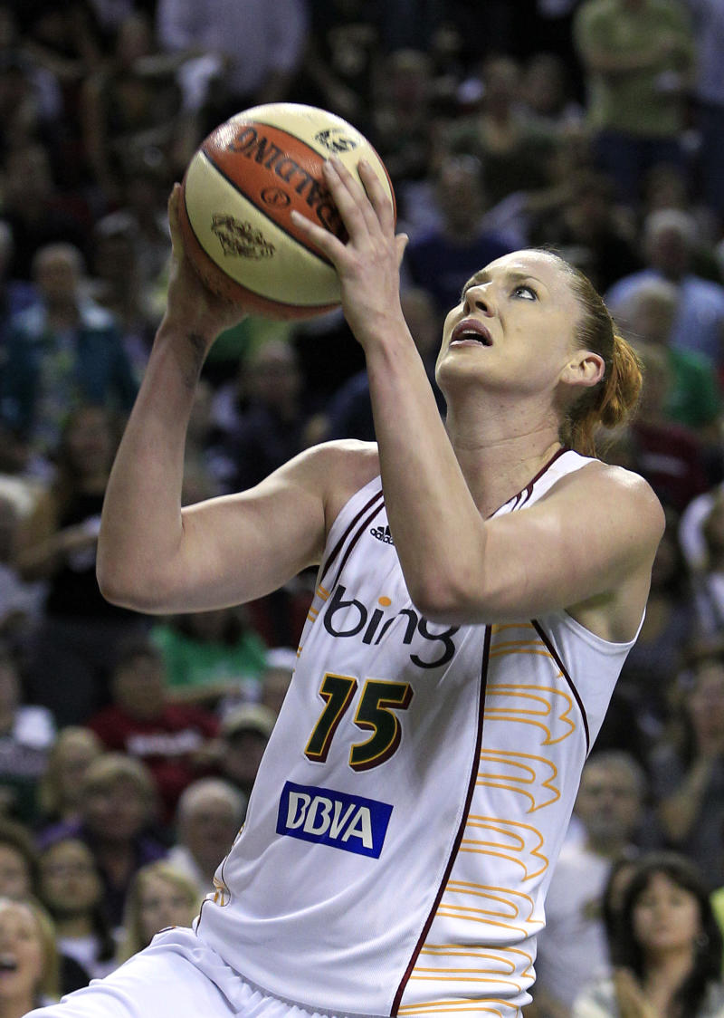 FILE - In this Sept. 14, 2010, file photo, Seattle Storm's Lauren Jackson shoots against the Atlanta Dream during the second half of Game 2 of the WNBA basketball finals, in Seattle. (AP Photo/Elaine Thompson, File)