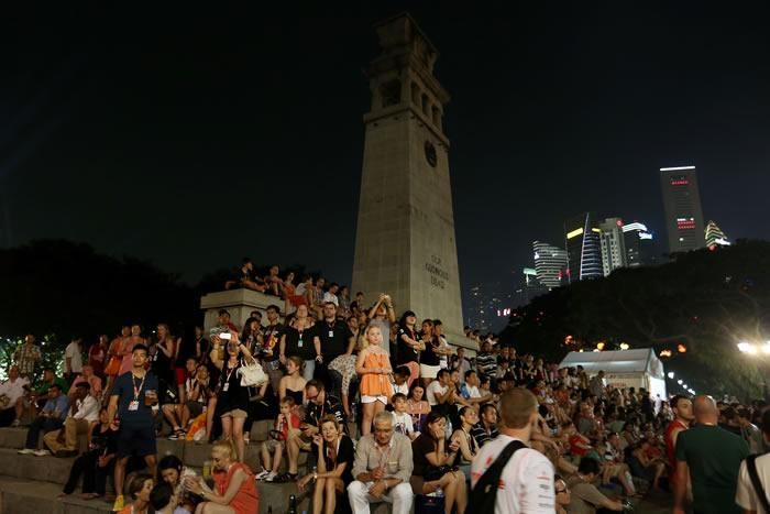 SINGAPORE - SEPTEMBER 22: Fans watch the Maroon 5 performance during the 2012 F1 Singapore on September 22, 2012 in Singapore. (Photo by Chris McGrath/Getty Images)