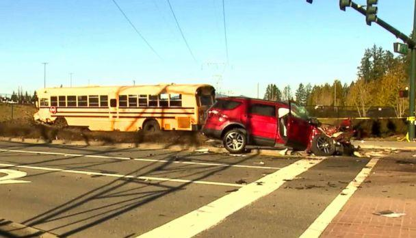 PHOTO: An image made from video shows the aftermath of a school bus accident in Covington, Wash., March 18, 2019. (KOMO)