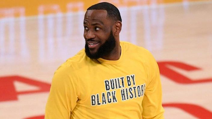 Los Angeles Lakers star LeBron James smiles as he warms up before a recent game against the Portland Trail Blazers at Staples Center in Los Angeles. (Photo by Harry How/Getty Images)