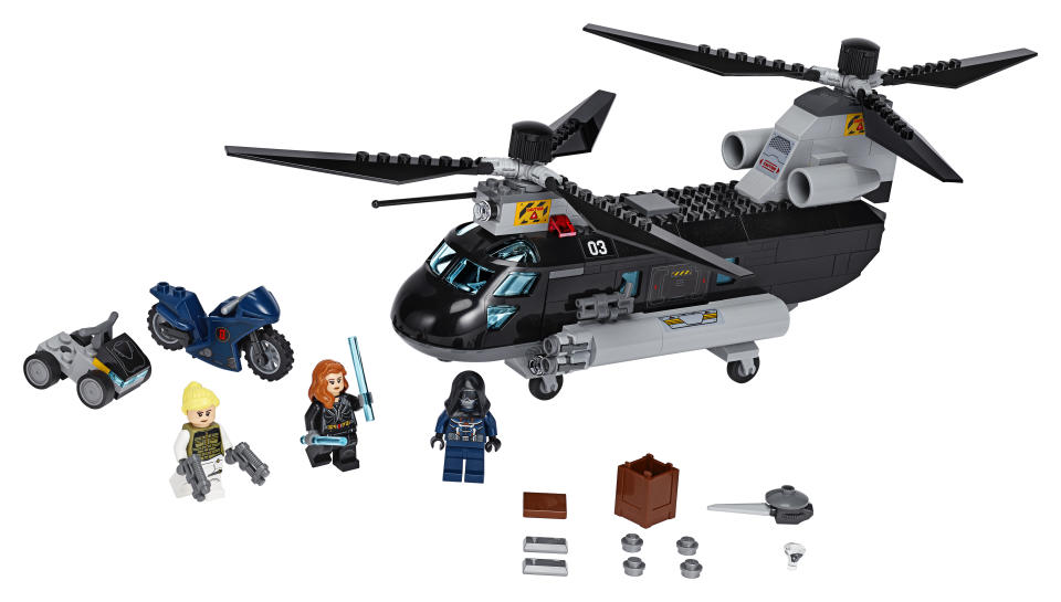 Recreate the 'Black Widow' action with Black Widow's Helicopter Chase LEGO® set (Photo: The Lego Group)