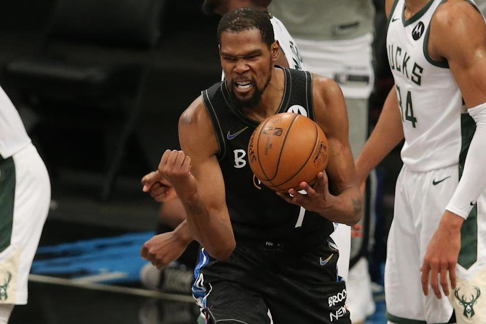 kevin durant playoff mvp rankings rumors giannis devin booker kevin durant celebrates bucket
