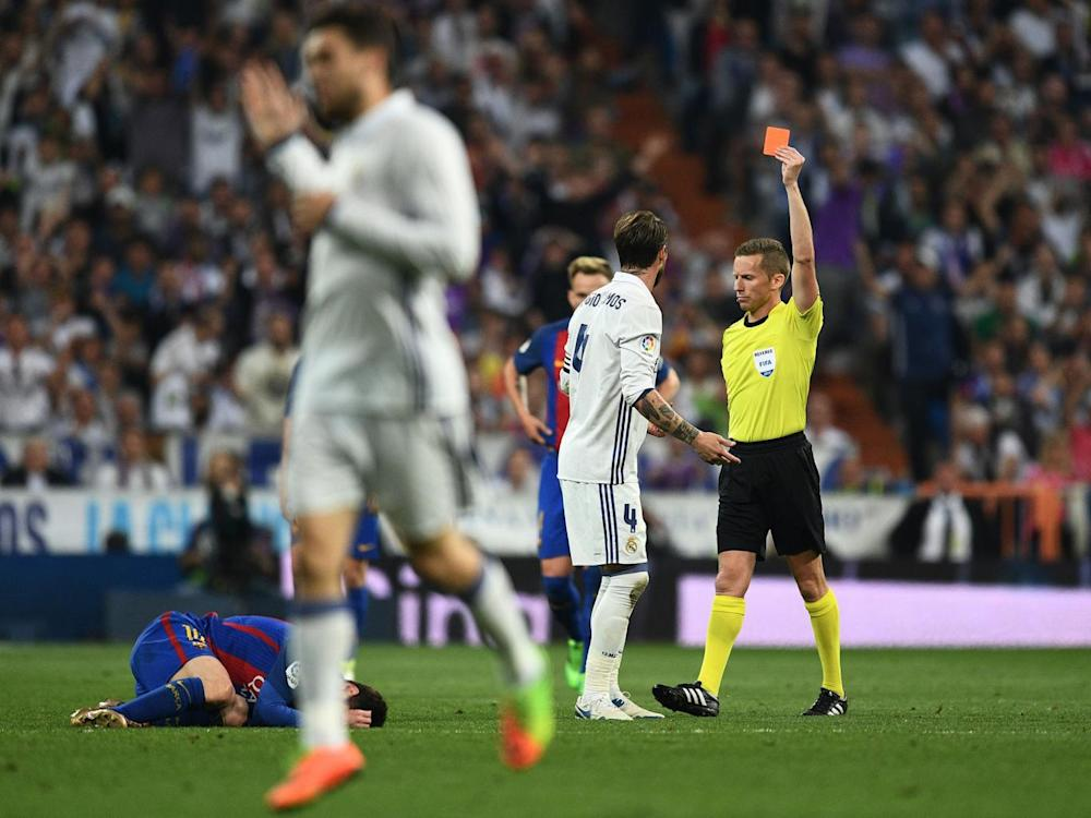 The sending-off was Sergio Ramos' fifth dismissal in el clasico (Getty)