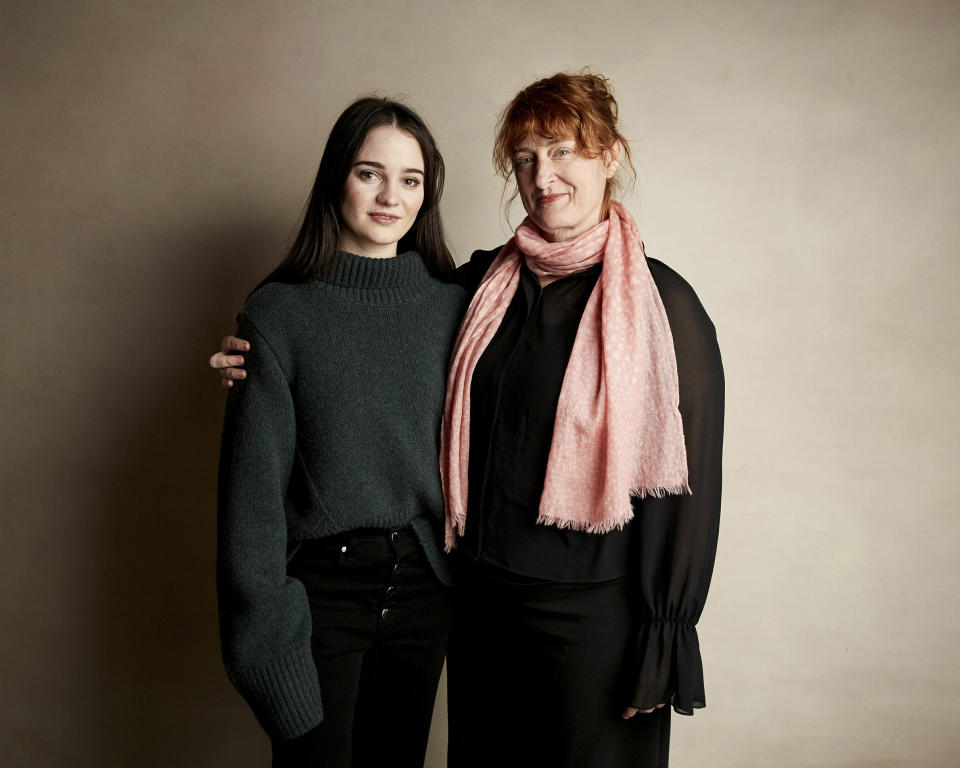 """Aisling Franciosi, left and director Jennifer Kent pose for a portrait to promote the film """"The Nightingale"""" at the Salesforce Music Lodge during the Sundance Film Festival on Friday, Jan. 25, 2019, in Park City, Utah. (Photo by Taylor Jewell/Invision/AP)"""