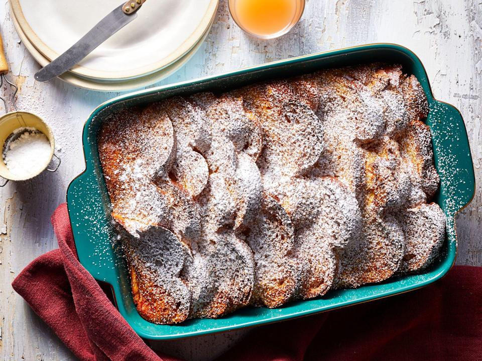 """<p><strong>Recipe: <a href=""""https://www.southernliving.com/recipes/eggnog-french-toast-casserole"""" rel=""""nofollow noopener"""" target=""""_blank"""" data-ylk=""""slk:Overnight Eggnog-French Toast Casserole"""" class=""""link rapid-noclick-resp"""">Overnight Eggnog-French Toast Casserole</a></strong></p> <p>We can't think of a more festive recipe for Christmas morning than this sweet breakfast that's prepped a day in advance.</p>"""
