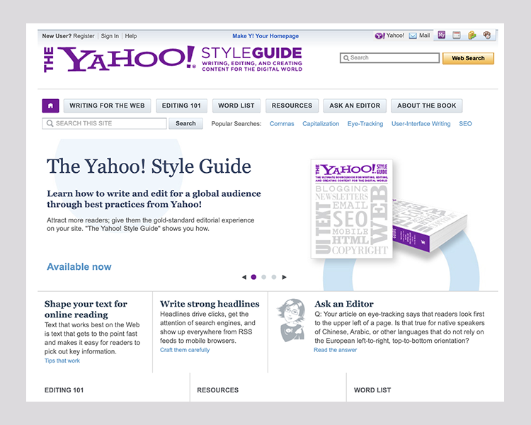 Left, The Chicago Manual of Style Online, 2008. Right, Yahoo Inc., 2010, addressing the particulars of web content.