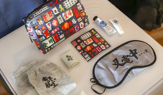 Amenity kits were designed by local artists and have a 'Hong Kong spirit' theme. Photo: Winson Wong