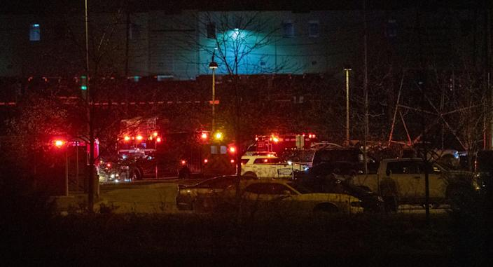 The scene outside a FedEx facility in Indianapolis where multiple people were reportedly shot late Thursday night, April 15, 2021.