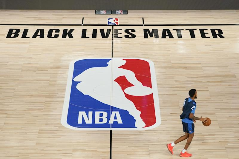 The arenas used by the NBA on the Disney World campus were emblazoned with social justice messages.