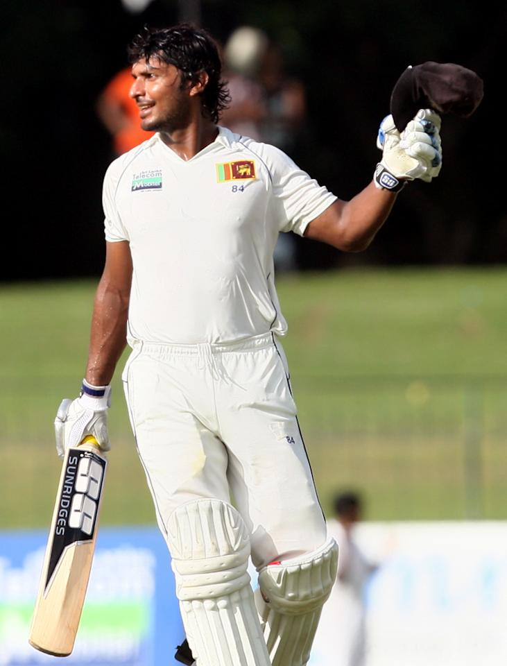 COLOMBO, SRI LANKA - JULY 03:  Kumar Sangakkara of Sri Lanka celebrates his century during day four of the second test between Sri Lanka and Pakistan at Sinhalese Sports Club on July 3, 2012 in Colombo, Sri Lanka.  (Photo by Buddhika Weerasinghe/Getty Images)