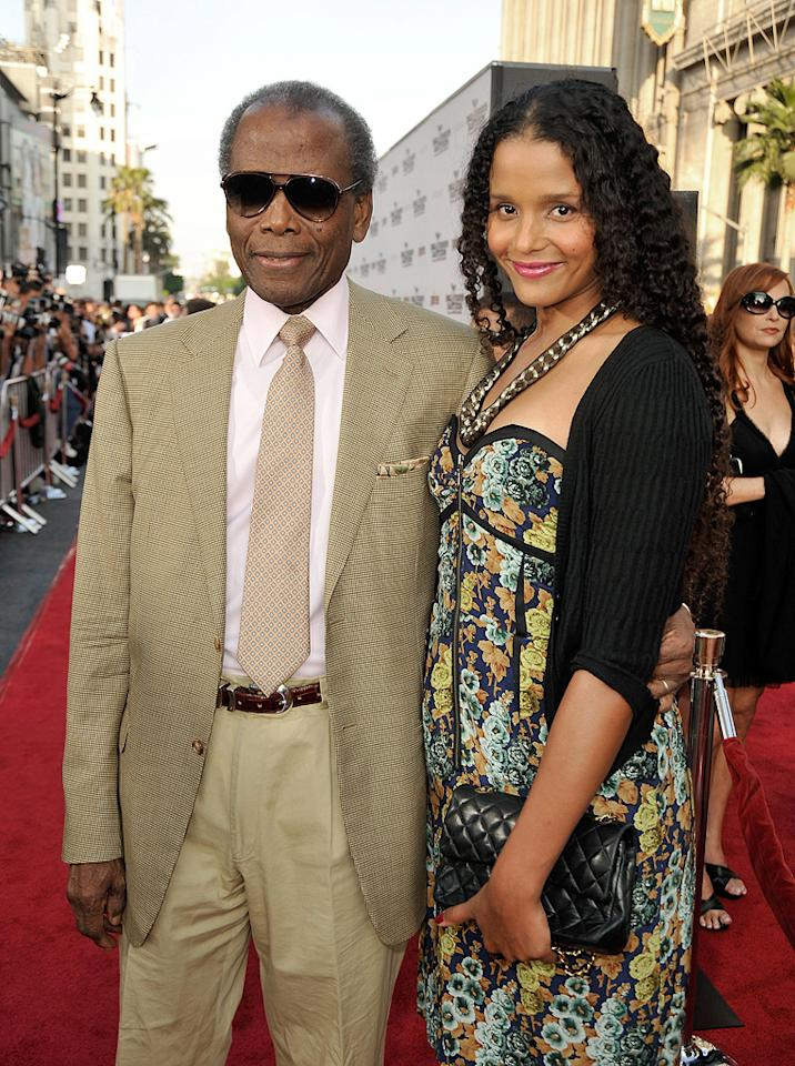 """<a href=""""http://movies.yahoo.com/movie/contributor/1800025653"""">Sidney Poitier</a> and daughter <a href=""""http://movies.yahoo.com/movie/contributor/1800019748"""">Sydney Poitier</a> at the Los Angeles premiere of <a href=""""http://movies.yahoo.com/movie/1808404206/info"""">Inglourious Basterds</a> - 08/10/2009"""