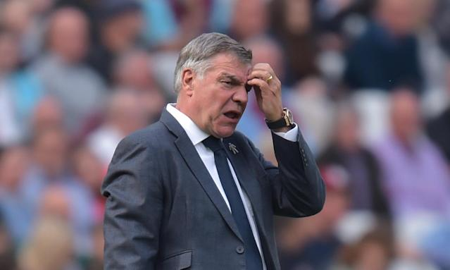 Everton's manager Sam Allardyce ponders his options during the 3-1 defeat at West Ham on Sunday.