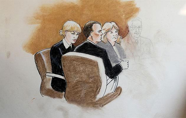 A court sketch artist depicts Taylor Swift at the trial. Source: SPLASH