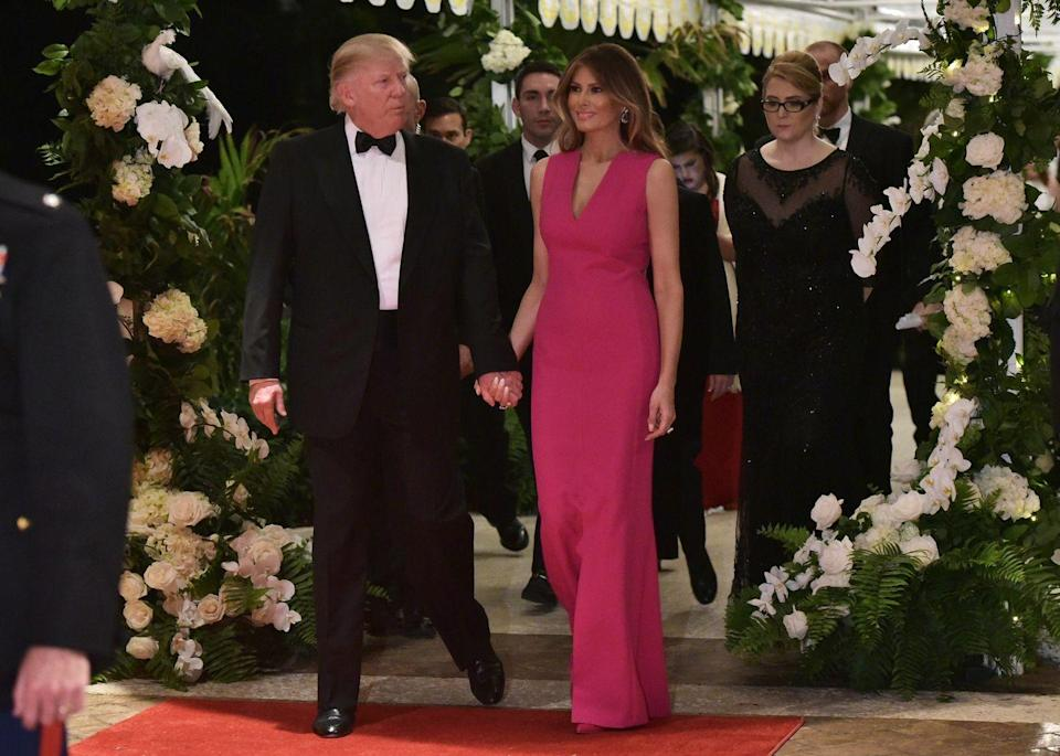 <p>The First Lady made a statement dressed in hot pink Dior at the annual Red Cross Ball at Mar-a-Lago.</p>