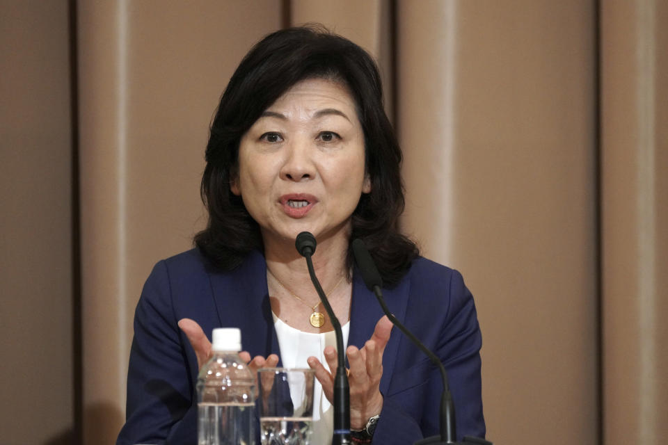 Seiko Noda, former internal affairs minister, one of candidates for the presidential election of the ruling Liberal Democratic Party speaks during a debate session held by Japan National Press club Saturday, Sept. 18, 2021 in Tokyo. The contenders are also Taro Kono, the cabinet minister in charge of vaccinations, Fumio Kishida, former foreign minister, Sanae Takaichi, former internal affairs minister. (AP Photo/Eugene Hoshiko, Pool)