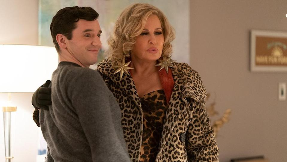 """Michael Urie as Peter, Jennifer Coolidge as Aunt Sandy in """"Single All the Way."""" - Credit: Philippe Bosse/Netflix"""