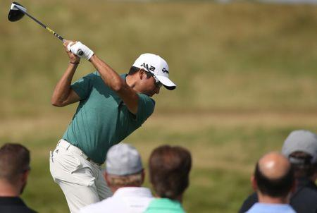 FILE PHOTO: Jun 15, 2017; Erin, WI, USA; Andres Romero plays his shot from the 12th tee during the first round of the U.S. Open golf tournament at Erin Hills. Mandatory Credit: Geoff Burke-USA TODAY Sports