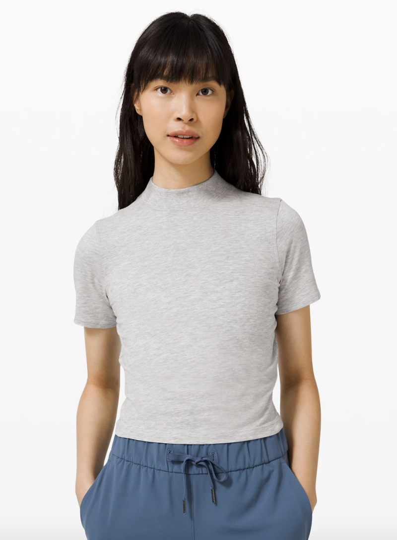 Kitsilano Mock Neck Tee in light grey