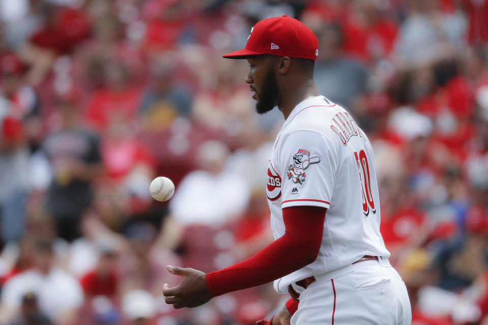 Cincinnati Reds relief pitcher Amir Garrett reacts after giving up a solo home run to Pittsburgh Pirates' Josh Bell in the seventh inning during the first baseball game of a doubleheader, Monday, May 27, 2019, in Columbus. (AP Photo/John Minchillo)