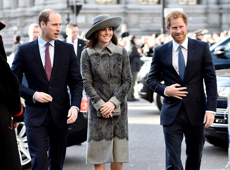 Prince William, Duke of Cambridge, Catherine, Duchess of Cambridge and Prince Harry attend the Commonwealth Observance Day Service on March 14, 2016 in London, United Kingdom.