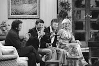 """Cast members of """"Star Trek II : The Wrath of Khan"""" get together for a special salute on """"The MERV Show,"""" during taping for that upcoming show on Tuesday, May 18, 1982 in Los Angeles. Members of the USS Enterprise, from left, are William Shatner, Leonard Nimoy, DeForest Kelley and Bibi Besch. (AP Photo/Nick Ut)"""