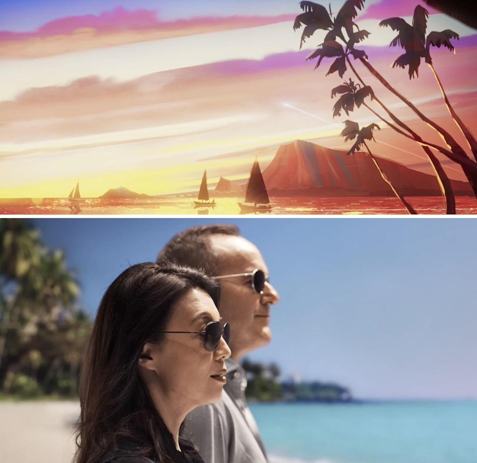 A beautiful island at sunset vs May and Coulson standing on a beach
