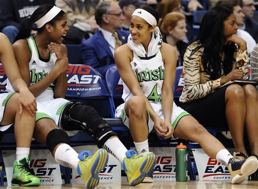 Notre Dame's Ariel Braker, left, and Skylar Diggins talk in the final minutes of an NCAA college basketball game against Louisville in the semifinals of the Big East Conference tournament in Hartford, Conn., Monday, March 11, 2013. Notre Dame won 83-59. (AP Photo/Jessica Hill)
