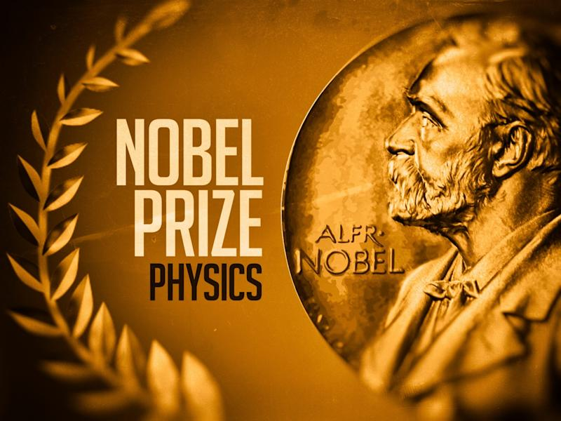 Nobel Prize medallion on texture with laurel wreath, with NOBEL PRIZE PHYSICS lettering, finished graphic