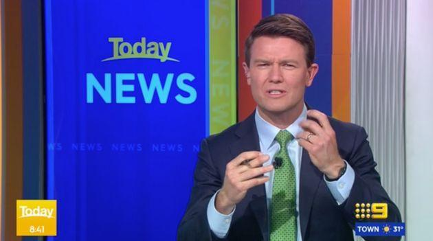 Today Show host Alex Cullen on set at Channel Nine studios