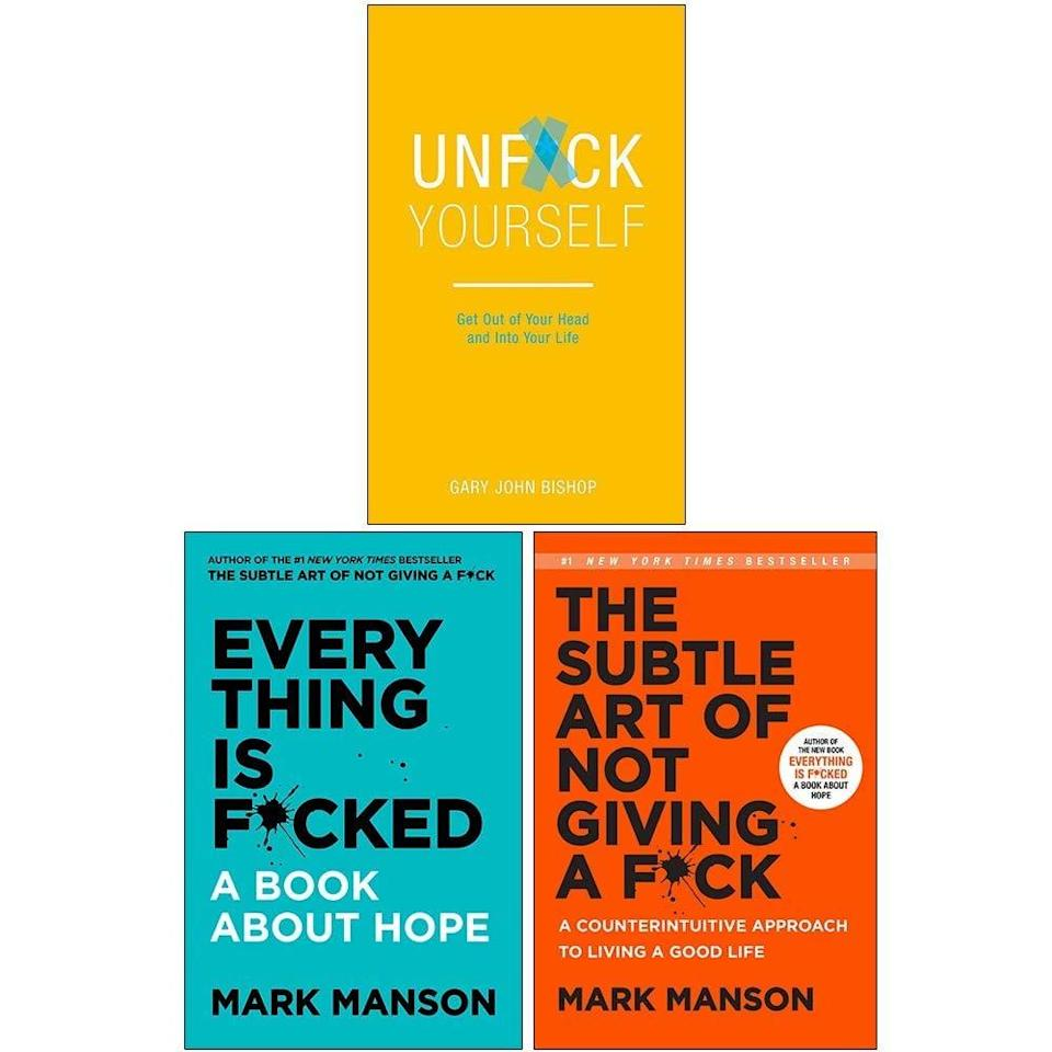 <p>If you're shopping for the one who loves a good self-help book, get them three with the <span><b>Everything Is Fcked, The Subtle Art of Not Giving a Fck, Unfck Yourself</b> 3 Books Collection Set</span> ($30). It contains bestselling books that will change the way they think about themselves, their habits, and more!</p>
