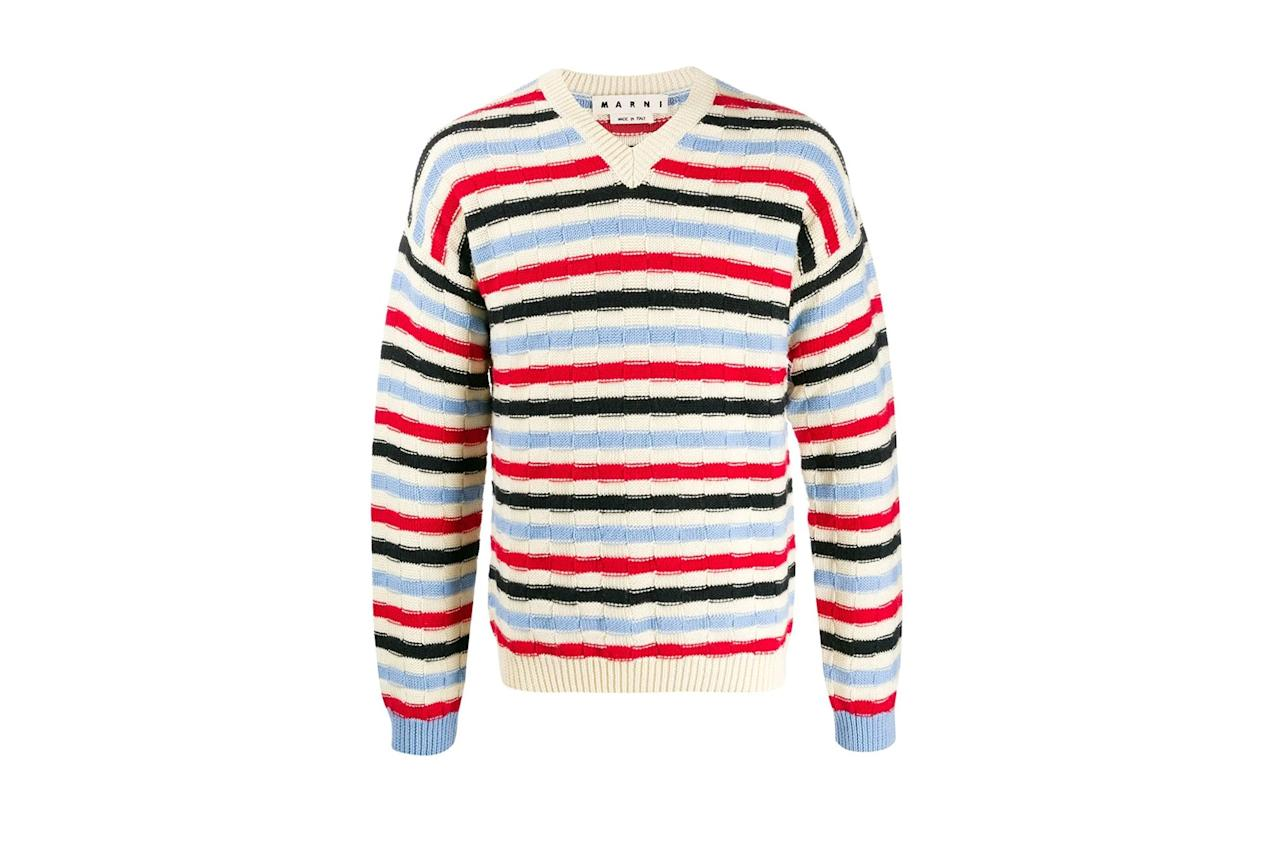 "The elementary school stripes on this Marni joint will reknew your giftee's faith in the <a href=""https://www.gq.com/gallery/renew-your-faith-v-neck-sweaters?mbid=synd_yahoo_rss"">v-neck sweater</a>. $670, Farfetch. <a href=""https://www.farfetch.com/shopping/men/marni-v-neck-striped-jumper-item-14690730.aspx?storeid=11119"">Get it now!</a>"