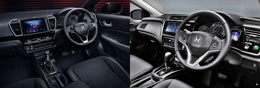 The interiors are vastly different and borrow a lot from the Civic. The existing City's steering controls and touch ac controls are no longer there. There are bigger and more conventional controls but the quality is better along with a more premium cabin. The touchscreen is bigger too with more features.