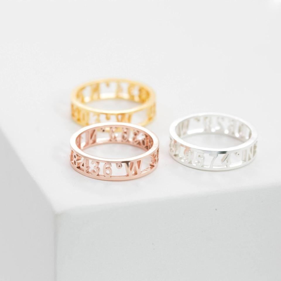 <p>If there's a place you really love, this <span>Caitlyn Minimalist Coordinates Ring</span> ($22, originally $29) is a cool, unique way to commemorate it. </p>