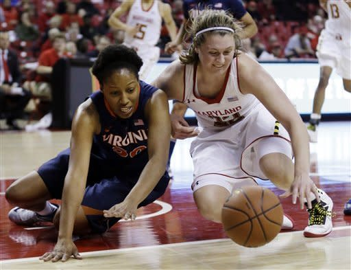 Virginia forward Telia McCall, left, and Maryland forward Tierney Pfirman struggle for possession of the ball in the second half of an NCAA college basketball game in College Park, Md., Thursday, Dec. 6, 2012. (AP Photo/Patrick Semansky)