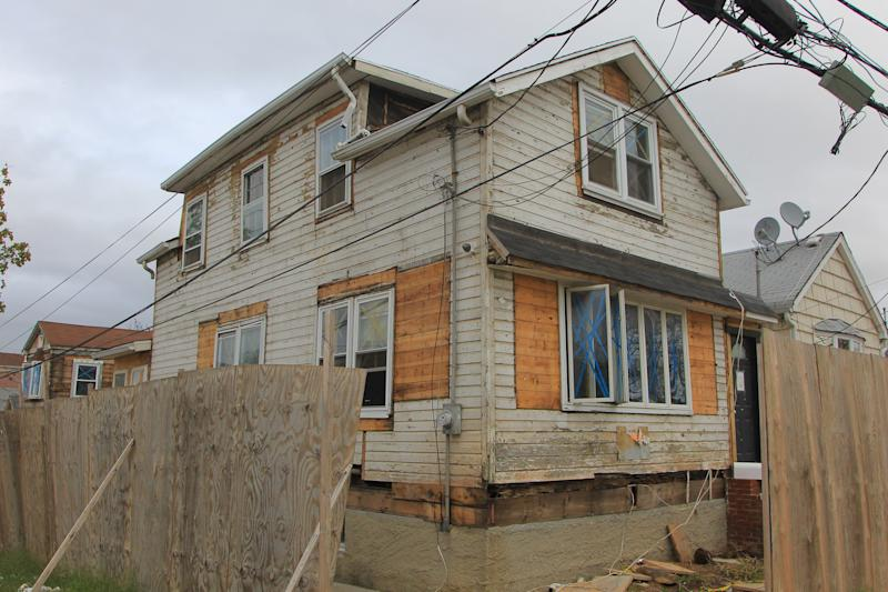 A house under repair in the Ocean Breeze section of Staten Island