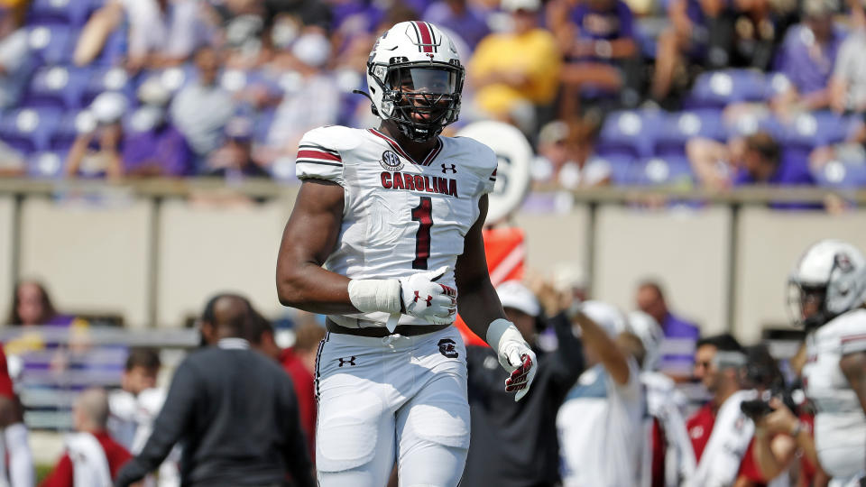 South Carolina's Kingsley Enagbare is the type of long-levered pass rusher who fits the Eagles mold. (AP Photo/Karl B DeBlaker)