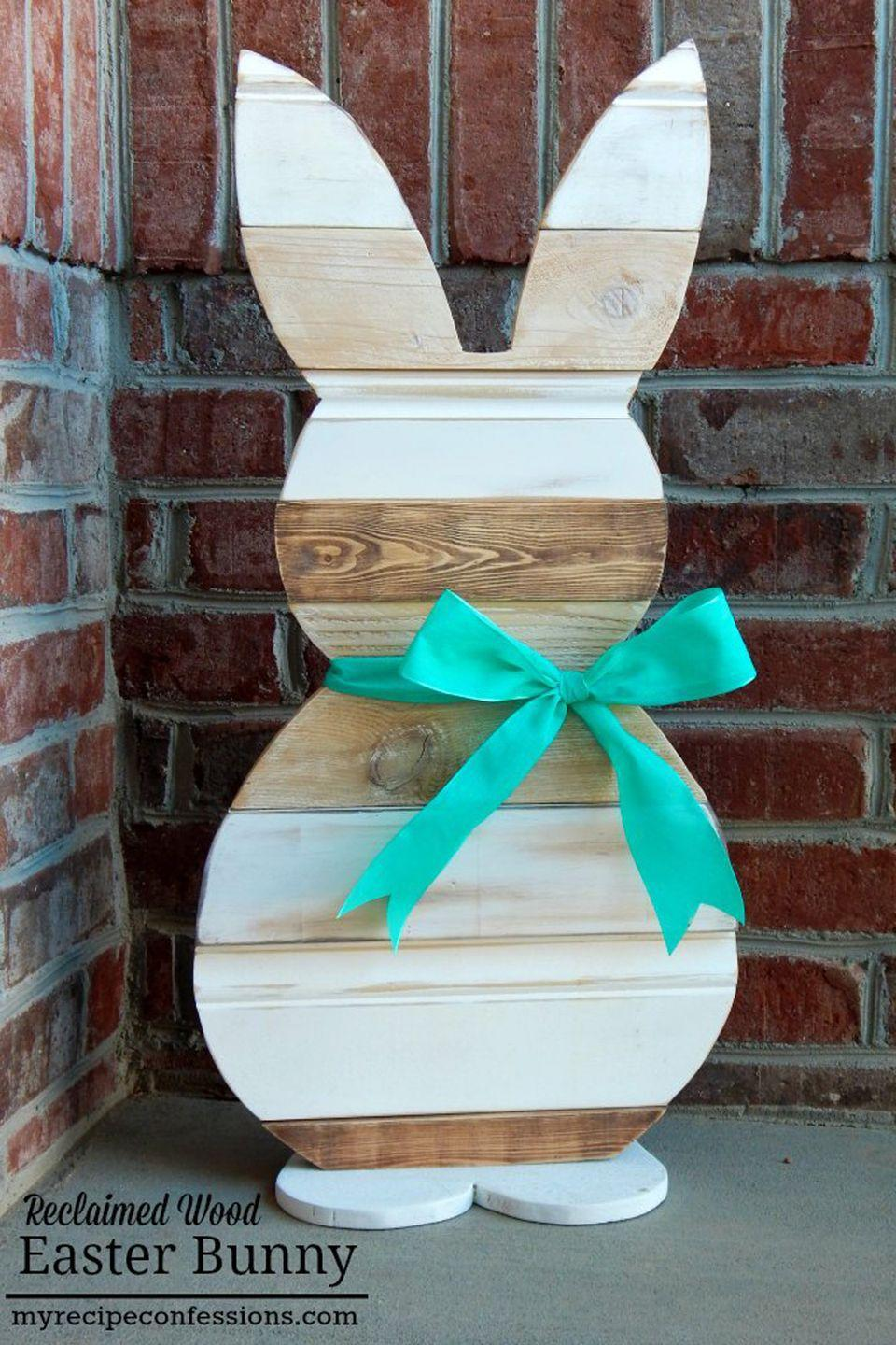 "<p>Step up your crafting game with this woodworking project. You'll need access to a jig saw for this DIY, but don't let that intimidate you—even novice crafters can nail this one.</p><p><strong>Get the tutorial at <a href=""http://myrecipeconfessions.com/projects/reclaimed-wood-easter-bunny/"" rel=""nofollow noopener"" target=""_blank"" data-ylk=""slk:My Recipe Confessions"" class=""link rapid-noclick-resp"">My Recipe Confessions</a>.</strong></p>"