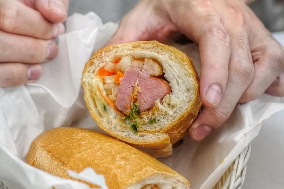 cross-section of banh mi smoked duck