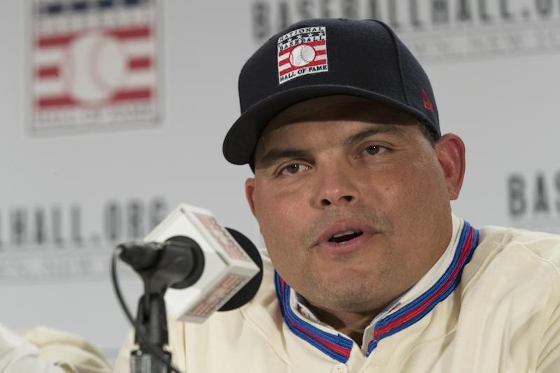 Newly elected baseball Hall of Fame inductee Ivan Rodriguez speaks to reporters during a news conference, Thursday, Jan. 19, 2017, in New York.