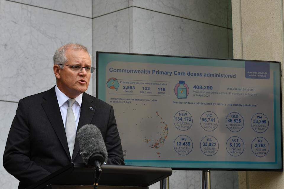 Prime Minister Scott Morrison at a press conference at Parliament House in Canberra.