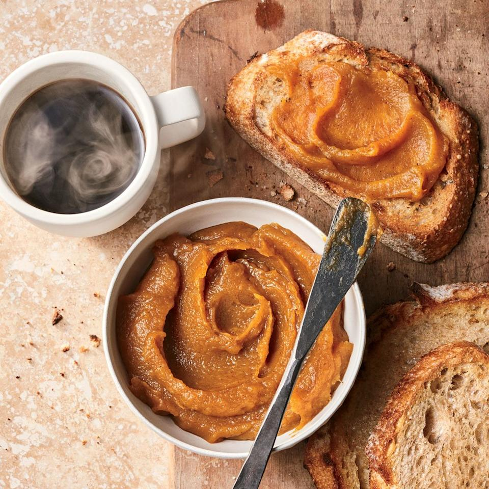 """<p>In the fall, when squash and pumpkins are in their prime, make this addictive pumpkin butter your go-to add-in. This silky preserve toes the line between sweet and savory: Try it on toast with cream cheese, in whipped cream, or melted into a mixture of sage and brown butter for an autumnal pasta sauce.</p><p><a href=""""https://www.foodandwine.com/recipes/pumpkin-butter"""">GO TO RECIPE</a></p>"""