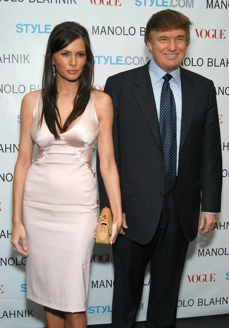 Donald and Melania Trump at a launch party for a Manolo Blahnik exhibition in 2003.