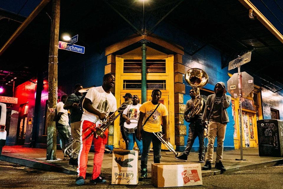 """<p><strong>Frenchmen Street</strong></p><p>Within walking distance to the French Quarter in New Orleans, <a href=""""https://www.neworleans.com/plan/streets/frenchmen-street/"""" rel=""""nofollow noopener"""" target=""""_blank"""" data-ylk=""""slk:Frenchmen Street"""" class=""""link rapid-noclick-resp"""">Frenchmen Street</a> has the most authentic and local live music. There's something for everyone with a range of every genre, and it's also home to the Frenchmen Art Market if you're in search of excellent local art.</p>"""