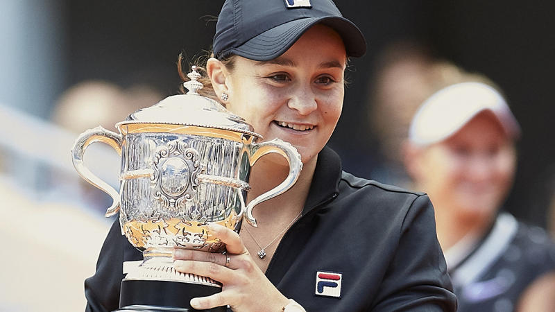 Ash Barty, pictured here celebrating her victory in the 2019 French Open final.