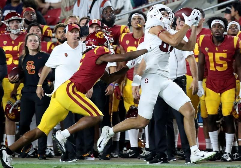 LOS ANGELES, CALIF. - SEP 11, 2021. Stanford wide receiver Brycen Tremayne makes a catch against USC cornerback Chris Steele during a win against the Trojansat the Coliseum on Saturday night, Sep. 11, 2021. (Luis Sinco / Los Angeles Times)