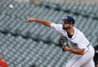 Detroit Tigers reliever Michael Fulmer pitches against the Chicago White Sox during the ninth inning of a baseball game Tuesday, Sept. 21, 2021, in Detroit. The Tigers defeated the White Sox 5-3. (AP Photo/Duane Burleson)
