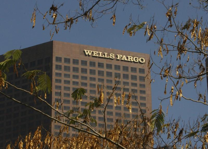 The Wells Fargo & Co bank building is shown in downtown Los Angeles