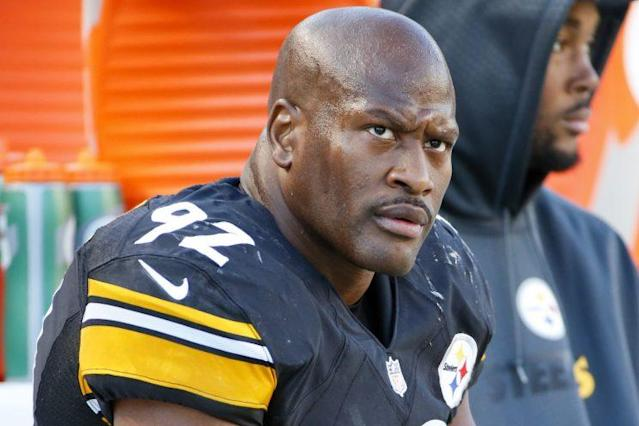 James Harrison was one of the NFL players who participated in an arm-wrestling tournament in Las Vegas. (AP)