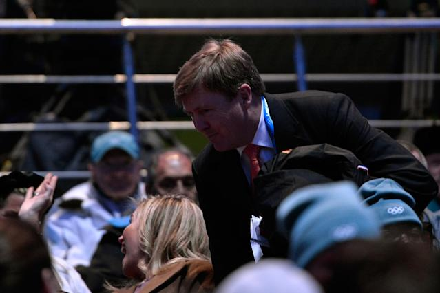 SOCHI, RUSSIA - FEBRUARY 07: King Willem-Alexander of the Netherlands takes a seat during the Opening Ceremony of the Sochi 2014 Winter Olympics at Fisht Olympic Stadium on February 7, 2014 in Sochi, Russia. (Photo by Pascal Le Segretain/Getty Images)